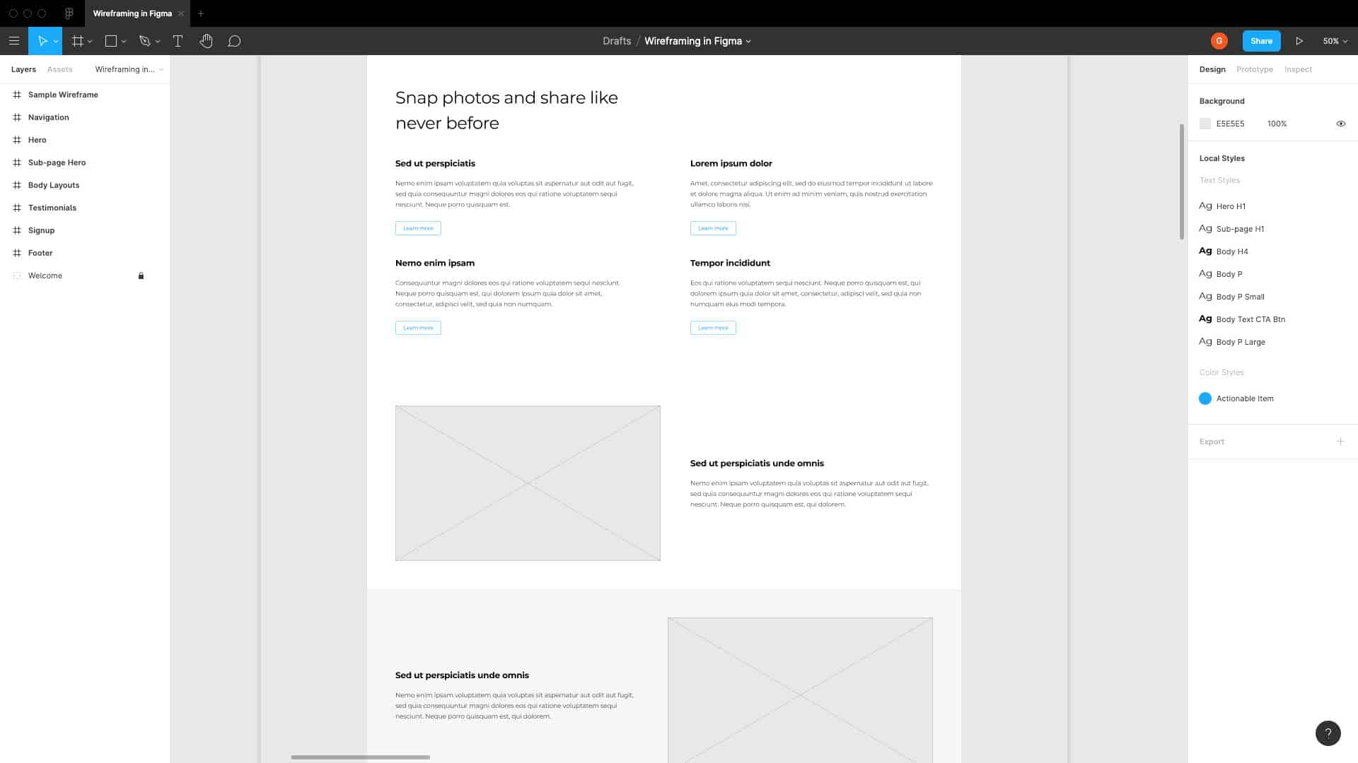 User Experience Design Wireframe
